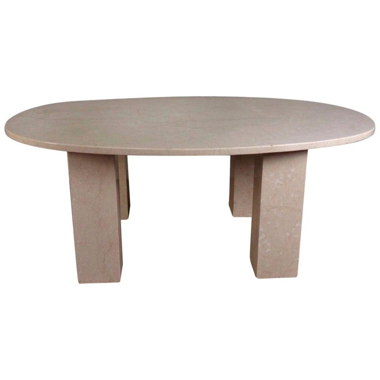 Large Marble Oval Dining Table For Sale