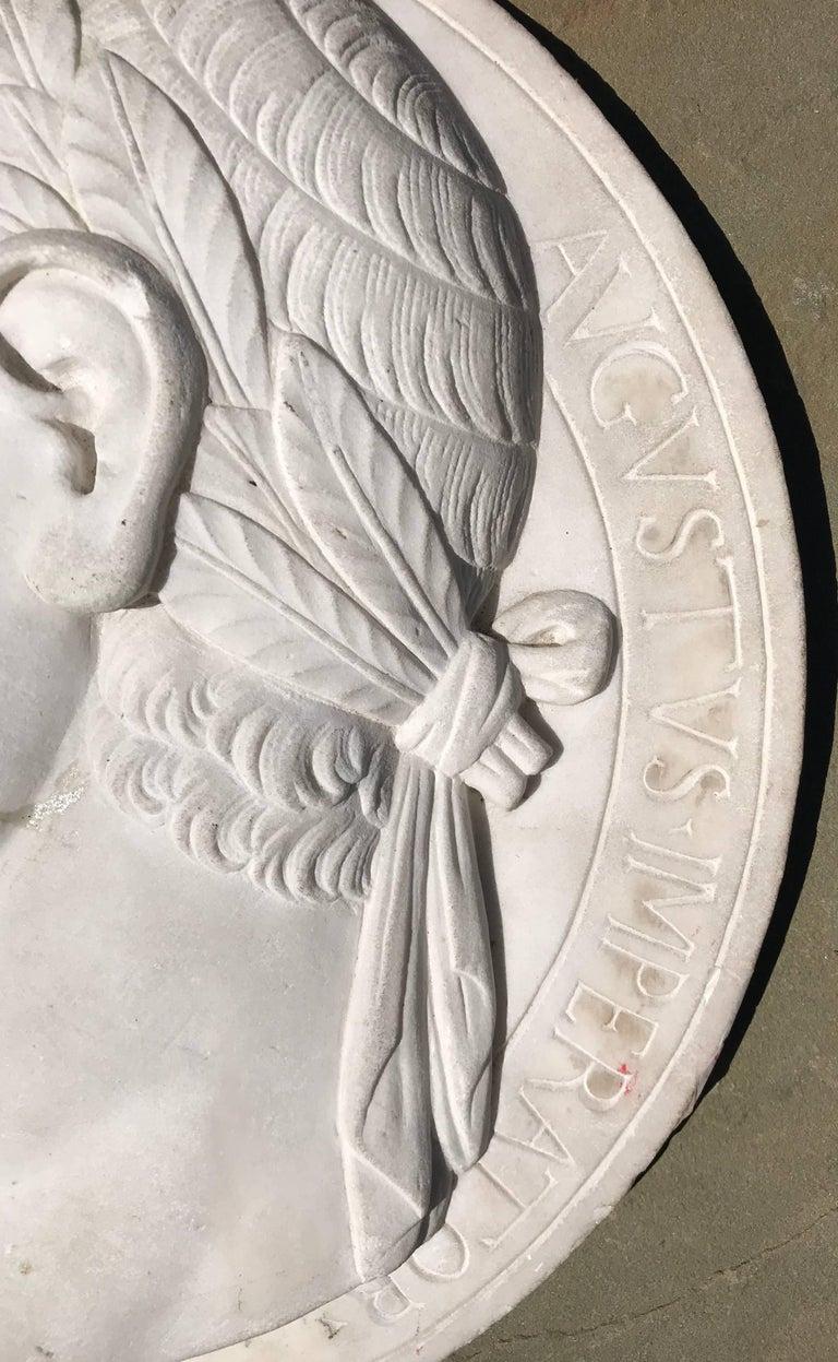 Neoclassical Large Marble Profile Plaque of Caesar Augustus For Sale