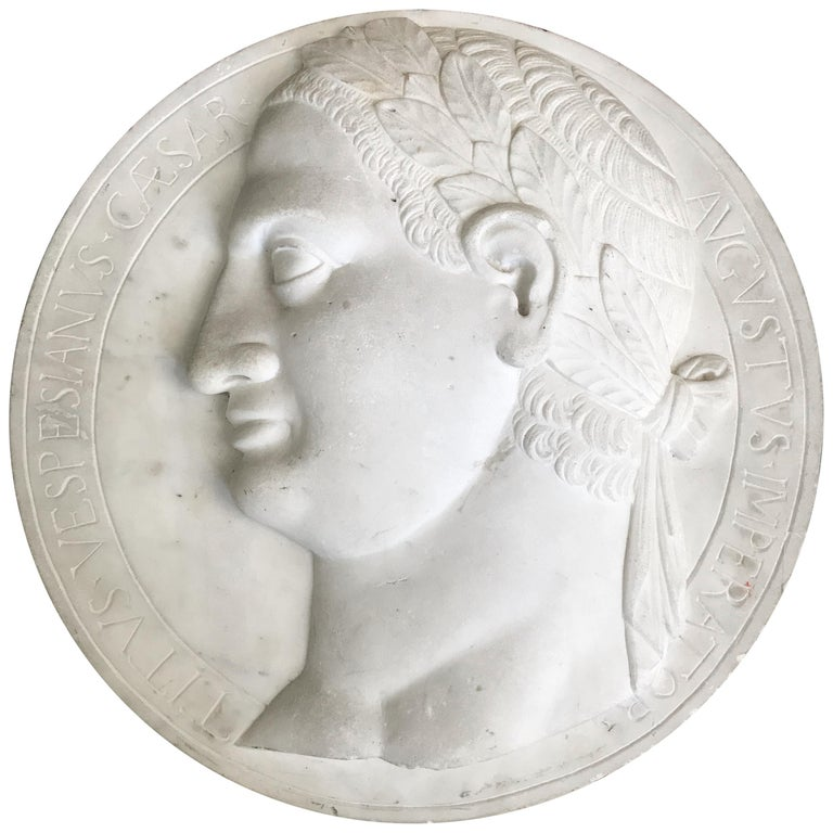 Large Marble Profile Plaque of Caesar Augustus For Sale