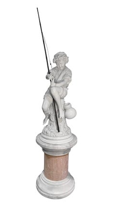 Large Marble Sculpture of a Fisherman boy by professor Lot Torelli