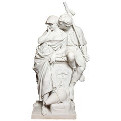 Large Marble Sculpture of an Amorous Couple by Antonio Frilli