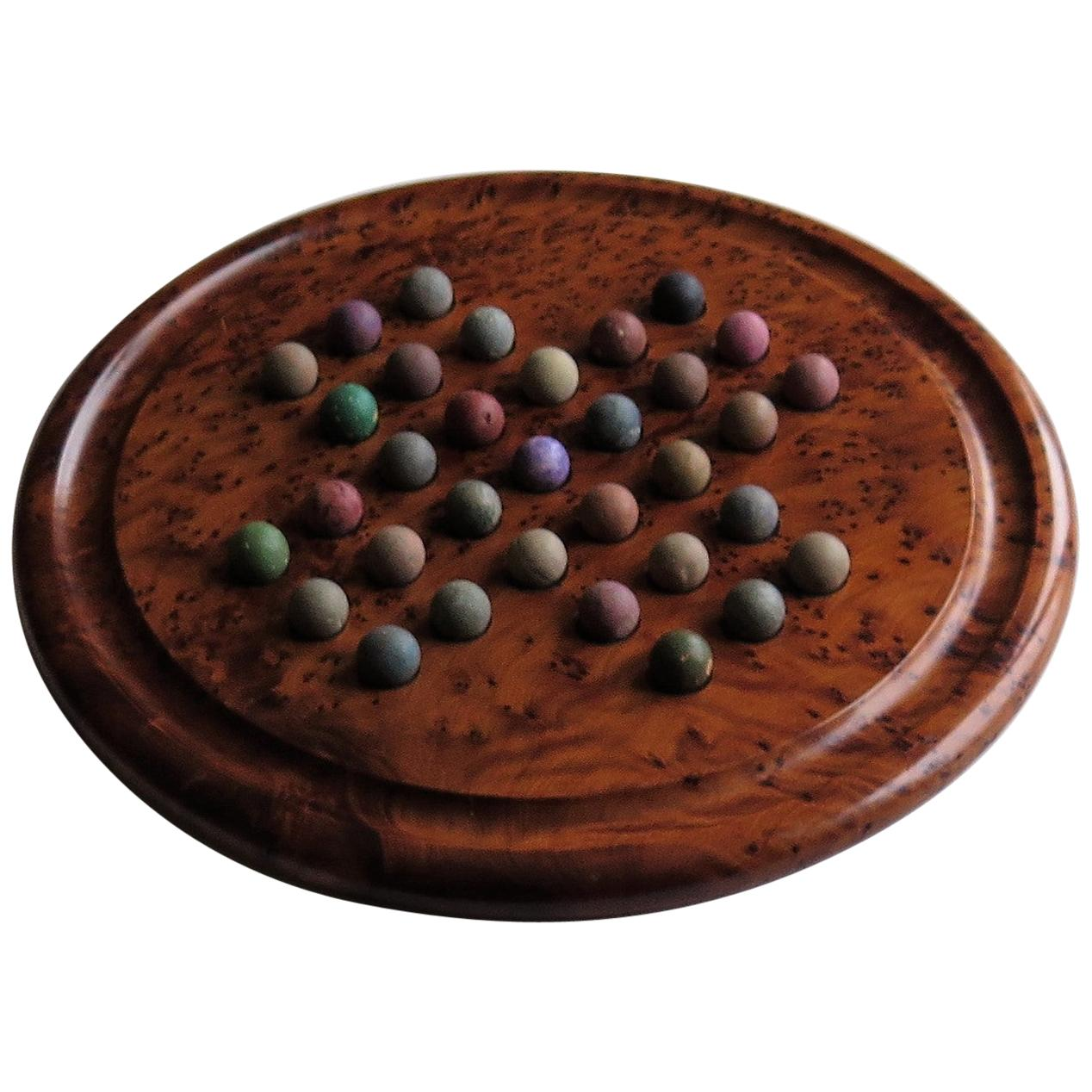 Large Marble Solitaire Board Game with 33 Early Handmade Clay Marbles
