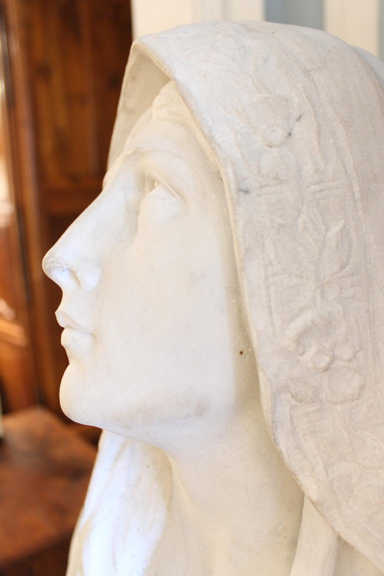 Large Marble Statue of the Virgin Mary For Sale 4