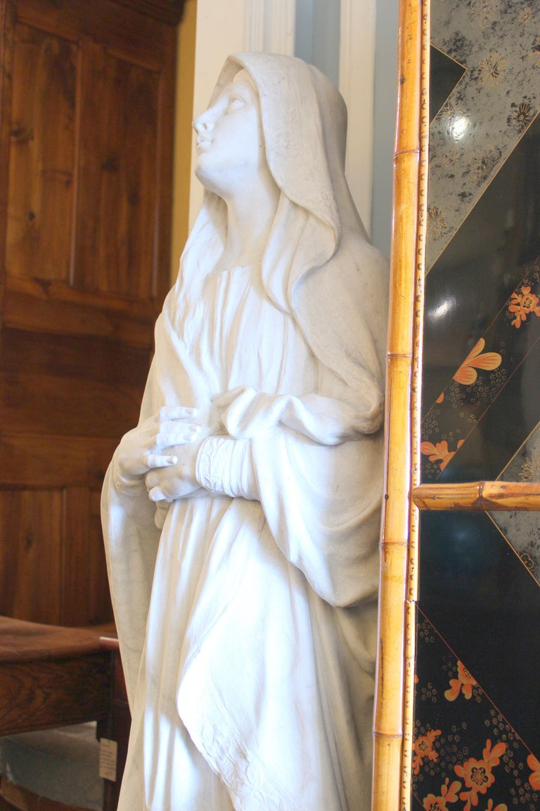Baroque Large Marble Statue of the Virgin Mary For Sale