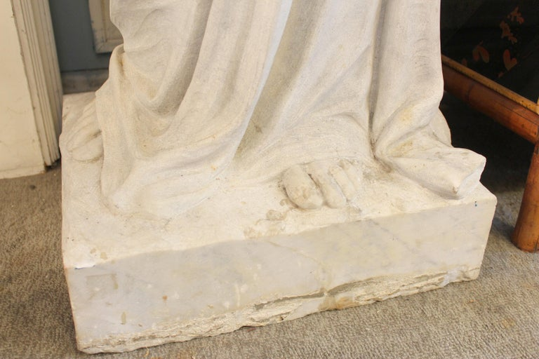 Large Marble Statue of the Virgin Mary For Sale 2