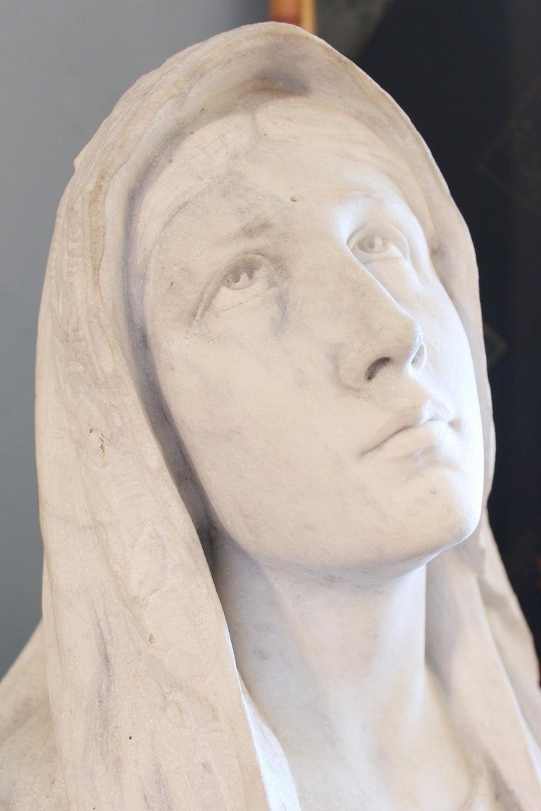Large Marble Statue of the Virgin Mary For Sale 3