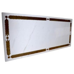 Large Marble Table Top with Bronze Inlay by Niccolini