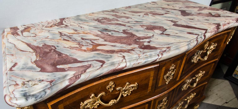 Hand-Crafted Large Marble Top Continental Commode For Sale