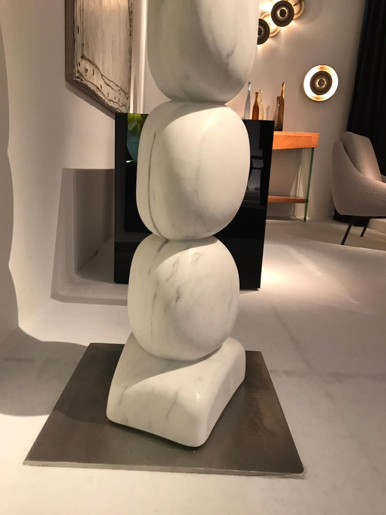 Large Marble TOTEM Sculpture by Jean Frederic Bourdier For Sale 4
