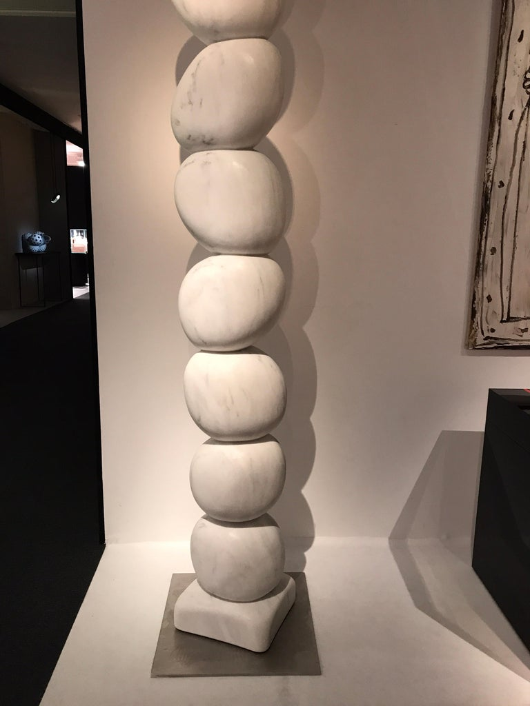 French Large Marble TOTEM Sculpture by Jean Frederic Bourdier For Sale