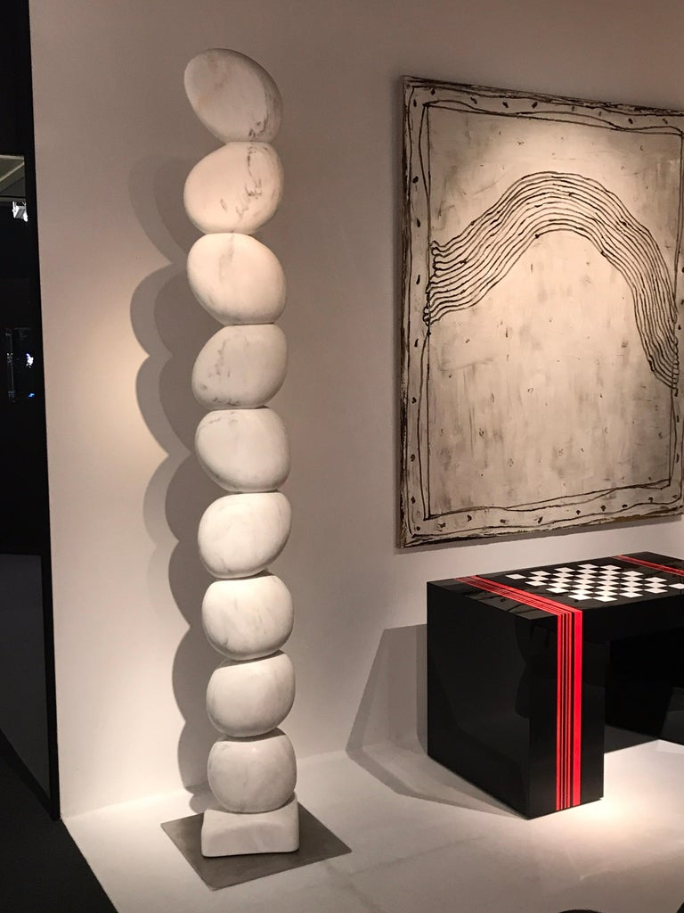 Large Marble TOTEM Sculpture by Jean Frederic Bourdier For Sale 2