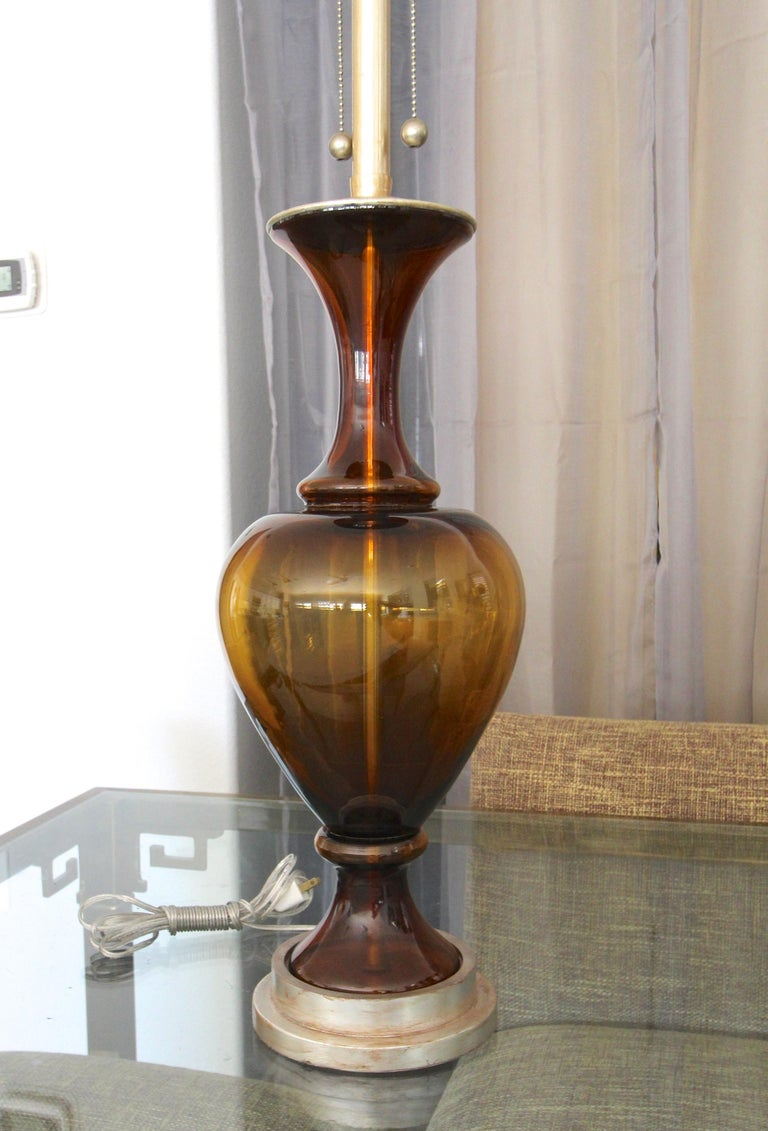 Mid-20th Century Large Marbro Swedish Root Beer Brown Glass Table Lamp For Sale
