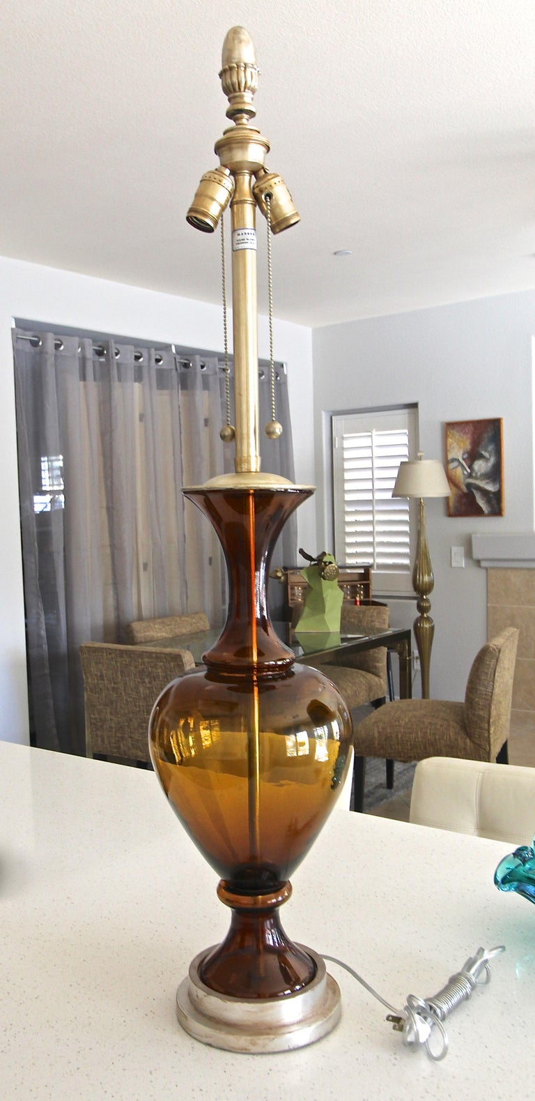 Large Marbro Swedish Root Beer Brown Glass Table Lamp For Sale 3