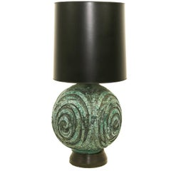 Large Marcello Fantoni Green Ceramic Table Lamp, circa 1950s