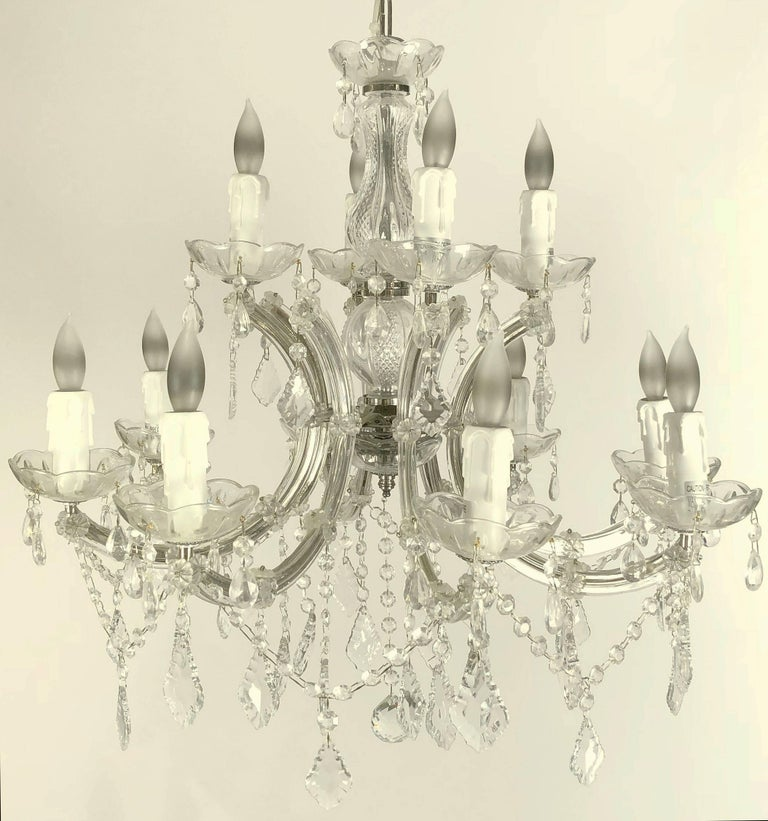 "Italian Large Maria Theresa Twelve-Light Chandelier (24"" Diameter) For Sale"