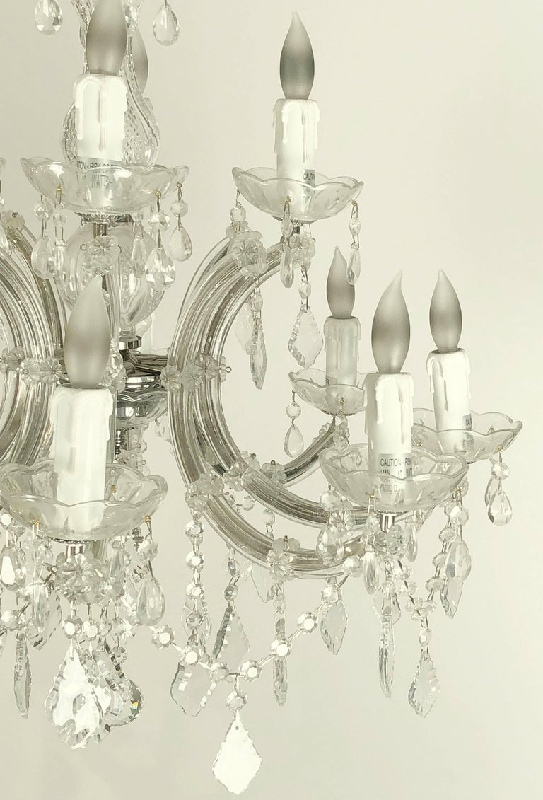 Faceted Large Maria Theresa Twelve-Light Chandelier (24