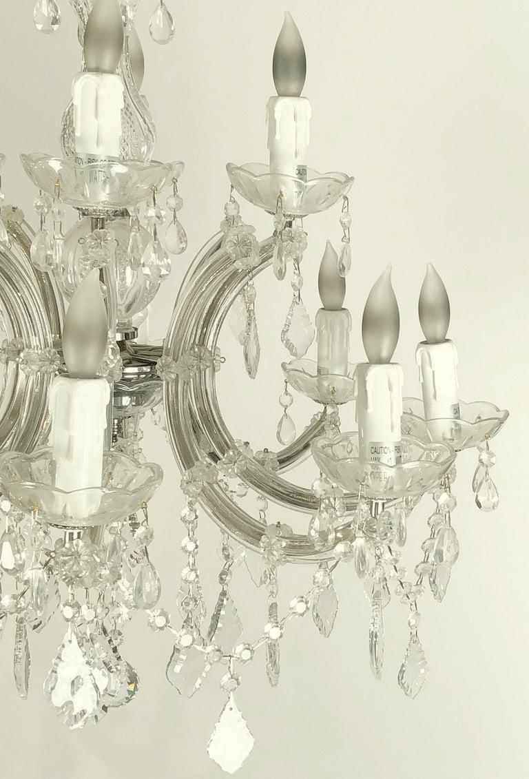 "Faceted Large Maria Theresa Twelve-Light Chandelier (24"" Diameter) For Sale"