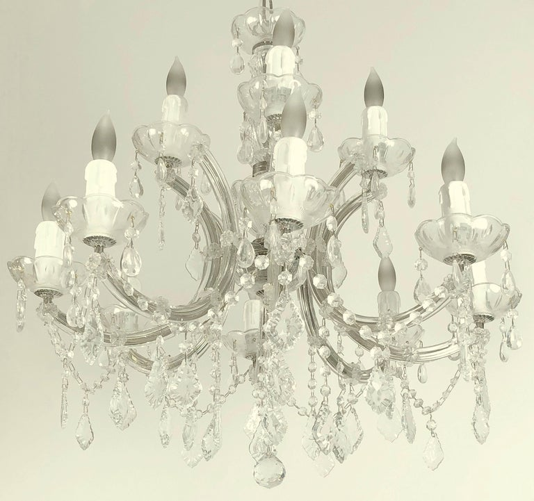 "Metal Large Maria Theresa Twelve-Light Chandelier (24"" Diameter) For Sale"