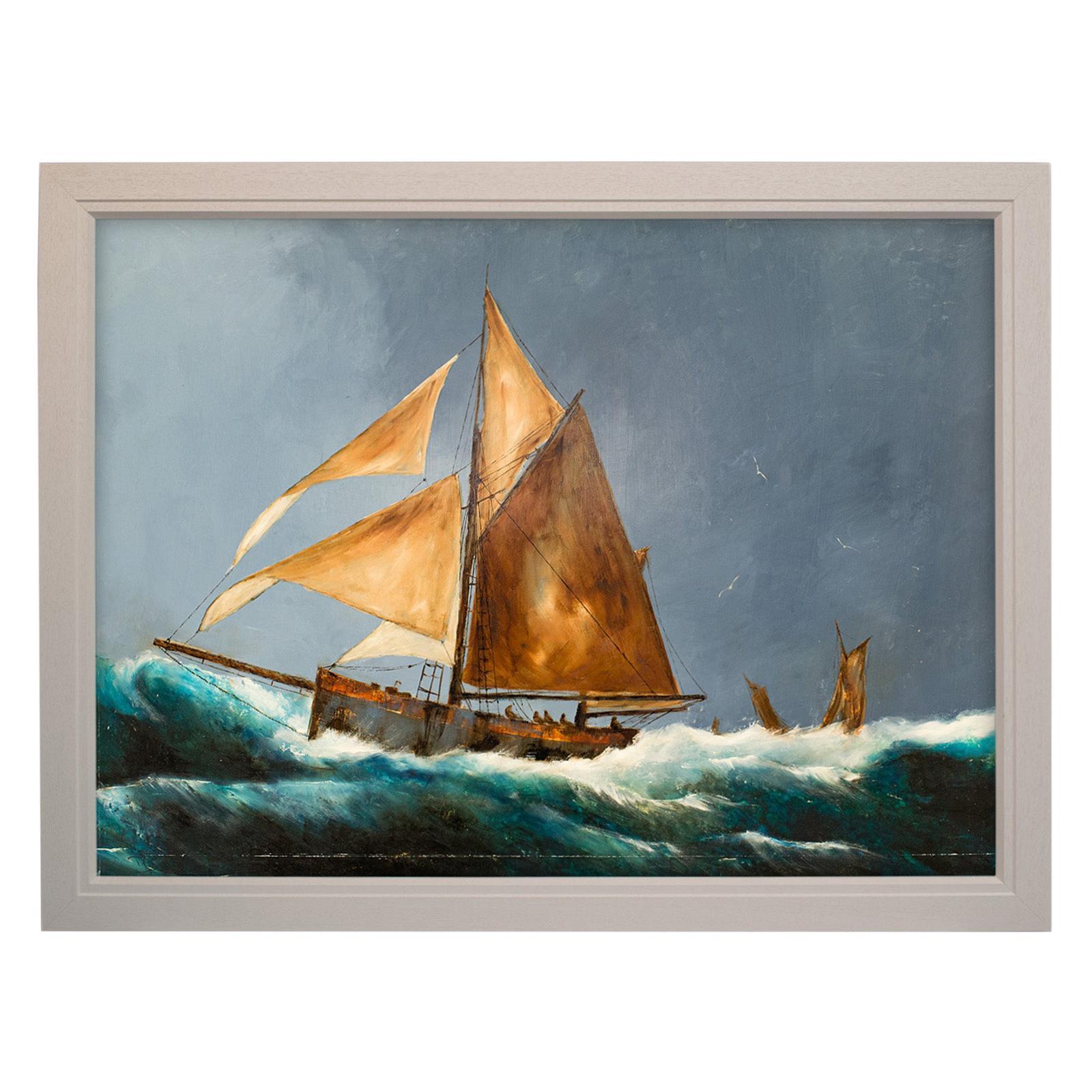 Large Maritime Oil painting, Vintage Ship, Marine, Art, Original