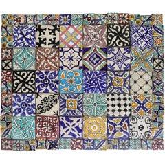 Large Moroccan Handmade Majolica Tile Panel