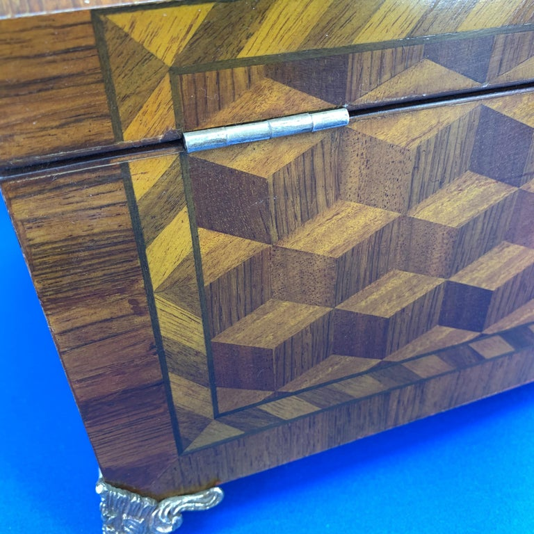 Large Marquetry Jewelry Box with Dome Lid and Gilded Feet For Sale 3