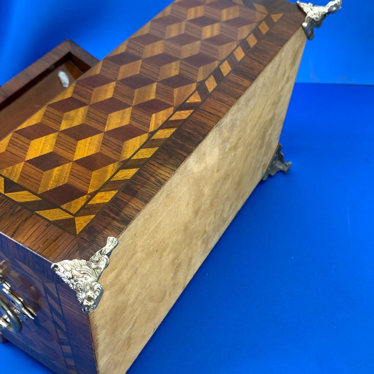Large Marquetry Jewelry Box with Dome Lid and Gilded Feet For Sale 6
