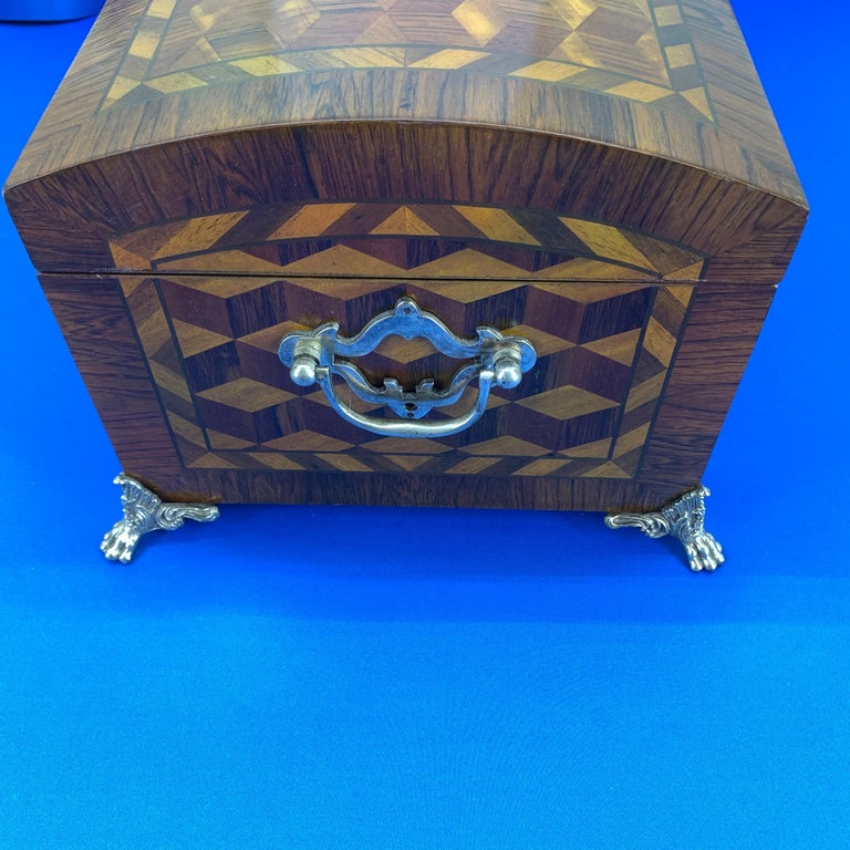 20th Century Large Marquetry Jewelry Box with Dome Lid and Gilded Feet For Sale