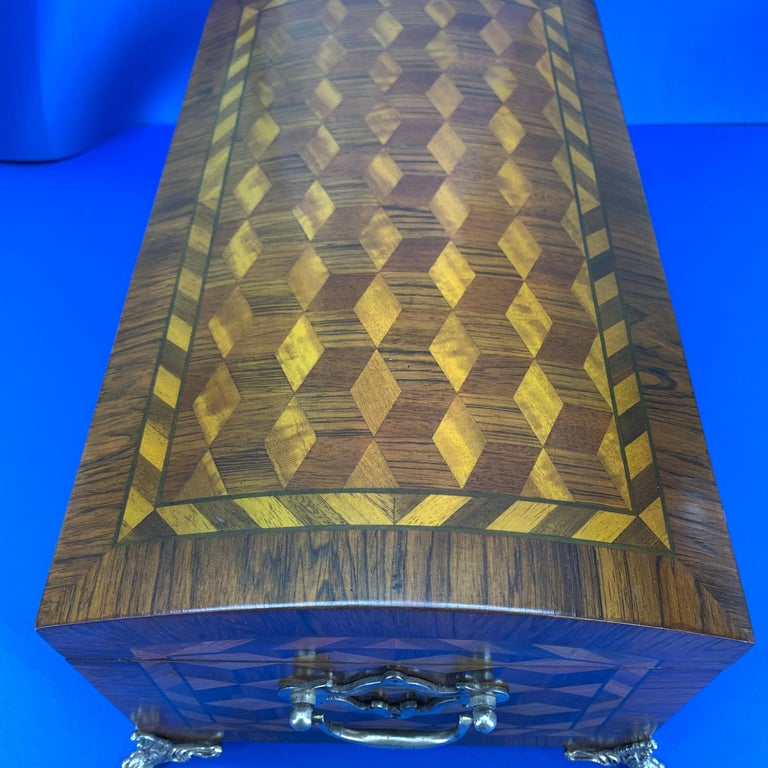 Fruitwood Large Marquetry Jewelry Box with Dome Lid and Gilded Feet For Sale