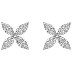 Large Marquise Diamond Flower Stud Earrings