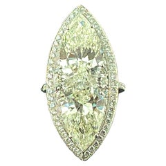 Large Marquise Shaped Ring Featuring 2 5+ Carat Pear Shaped Diamonds