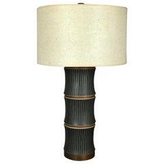 Large Martz Bamboo Table Lamp in Black Sgraffito Ceramics and Walnut