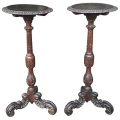 Large & Marvelous Pair of Handcrafted Oak Gueridon Tables, Pedestals, Columns