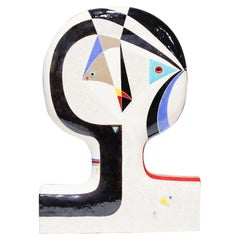 Large Mary-Ann Prack Ceramic Face Sculpture, Picasso Style
