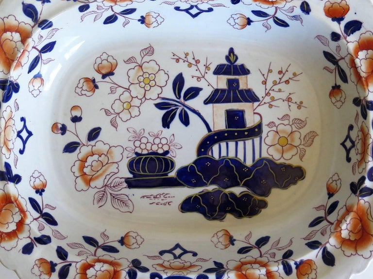 Large Mason's Ashworth's Ironstone Dish Chinoiserie Pattern 124, circa 1865 For Sale 4