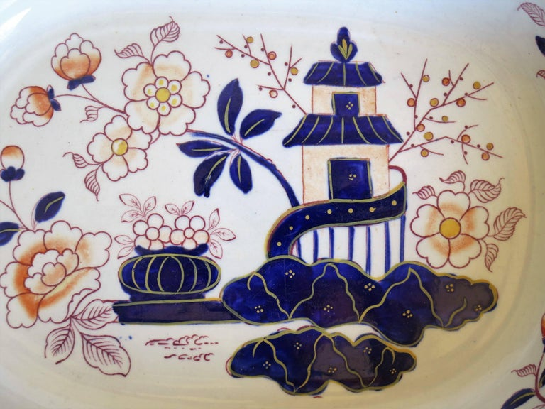 Large Mason's Ashworth's Ironstone Dish Chinoiserie Pattern 124, circa 1865 For Sale 5