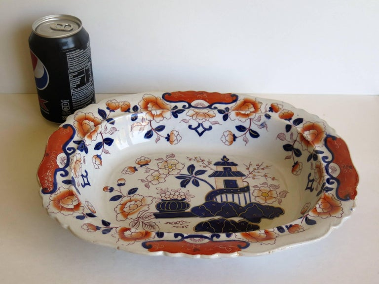 Large Mason's Ashworth's Ironstone Dish Chinoiserie Pattern 124, circa 1865 For Sale 7