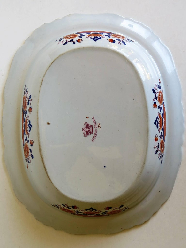 Large Mason's Ashworth's Ironstone Dish Chinoiserie Pattern 124, circa 1865 For Sale 8