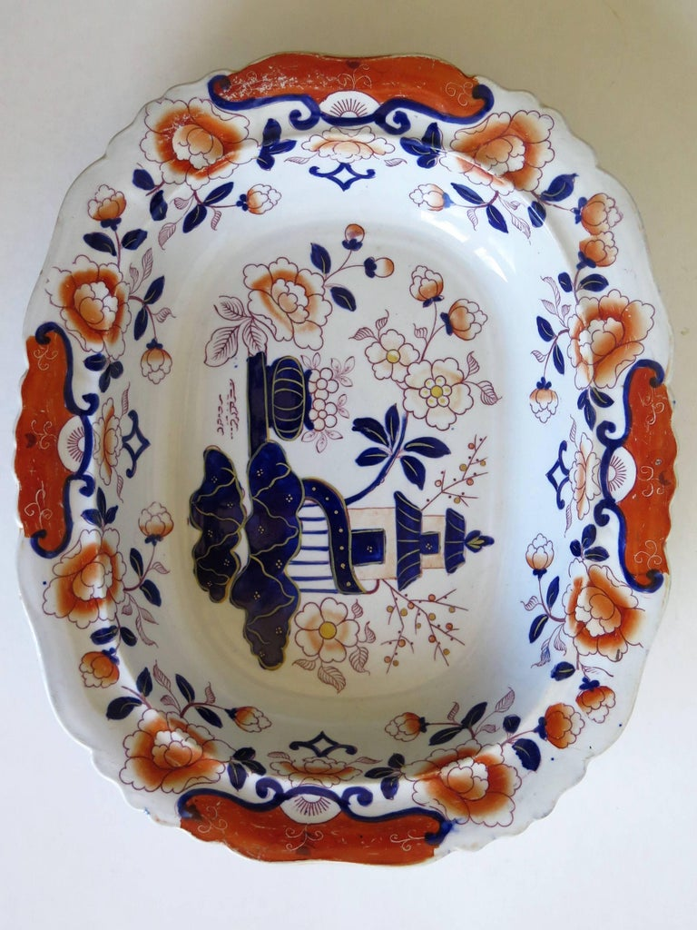 Hand-Painted Large Mason's Ashworth's Ironstone Dish Chinoiserie Pattern 124, circa 1865 For Sale