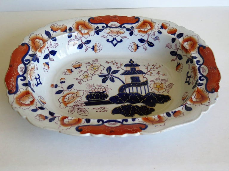 Large Mason's Ashworth's Ironstone Dish Chinoiserie Pattern 124, circa 1865 In Good Condition For Sale In Lincoln, Lincolnshire
