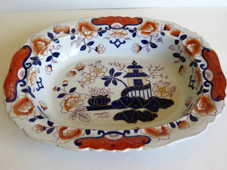 19th Century Large Mason's Ashworth's Ironstone Dish Chinoiserie Pattern 124, circa 1865 For Sale