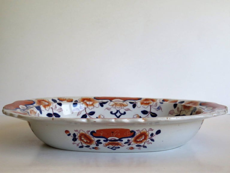 Large Mason's Ashworth's Ironstone Dish Chinoiserie Pattern 124, circa 1865 For Sale 1