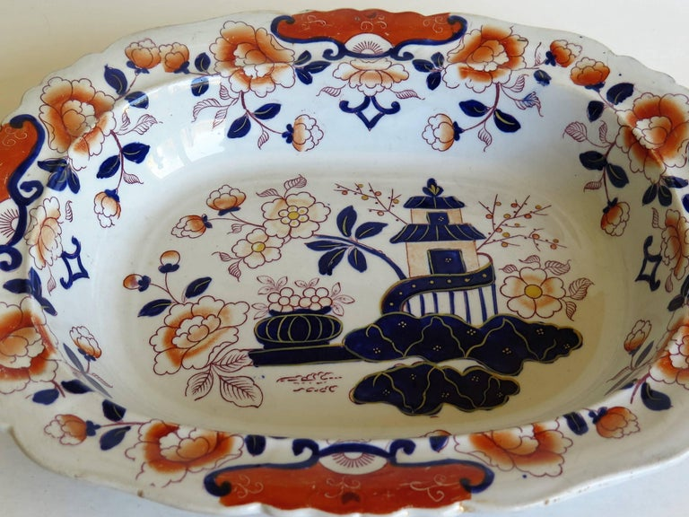 Large Mason's Ashworth's Ironstone Dish Chinoiserie Pattern 124, circa 1865 For Sale 3