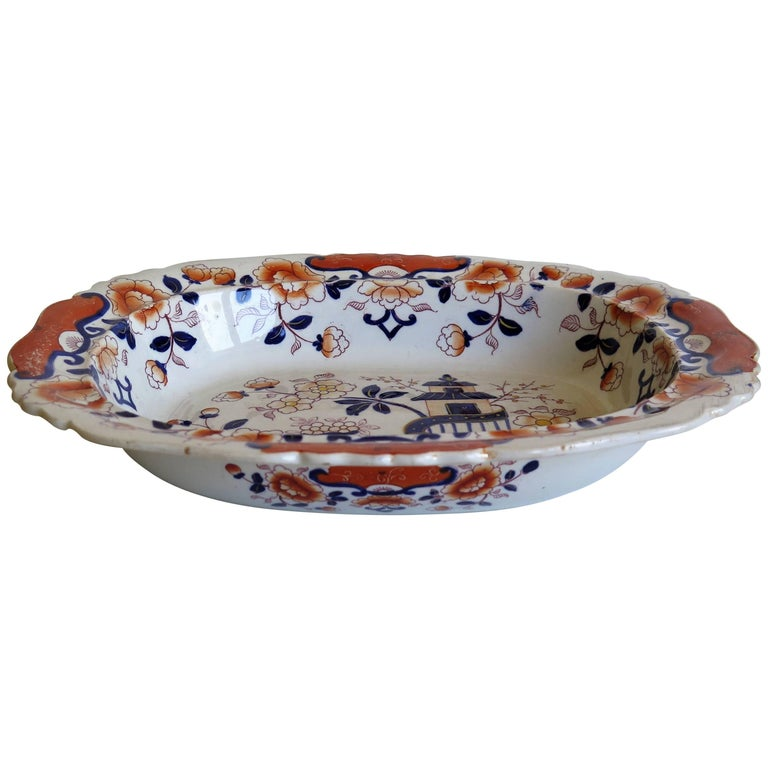 Large Mason's Ashworth's Ironstone Dish Chinoiserie Pattern 124, circa 1865 For Sale