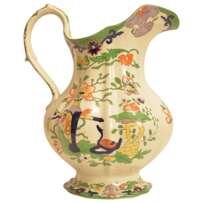 Large Mason's Ironstone Pitcher In Excellent Condition For Sale In San Antonio, TX