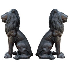 Large Matching Pair of Bronze Seated Lion Sculptures or Statues, France, 1980s