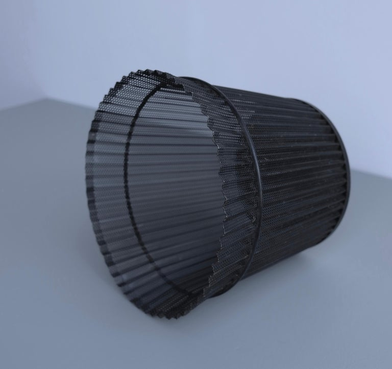 French Large Mathieu Matégot Black Metal Waste Paper Basket, First Edition, 1950s For Sale