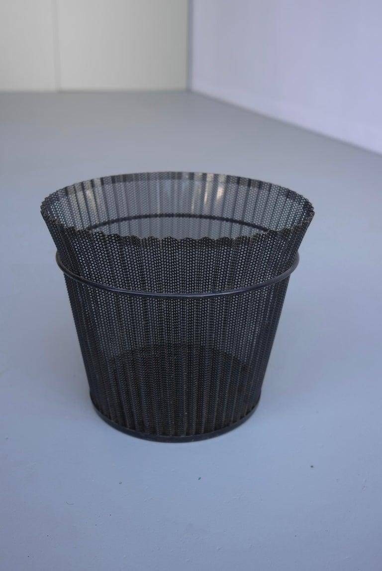 Mid-20th Century Large Mathieu Matégot Black Metal Waste Paper Basket, First Edition, 1950s For Sale