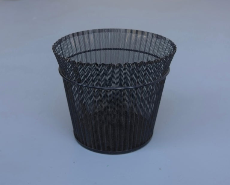Large Mathieu Matégot Black Metal Waste Paper Basket, First Edition, 1950s For Sale 1
