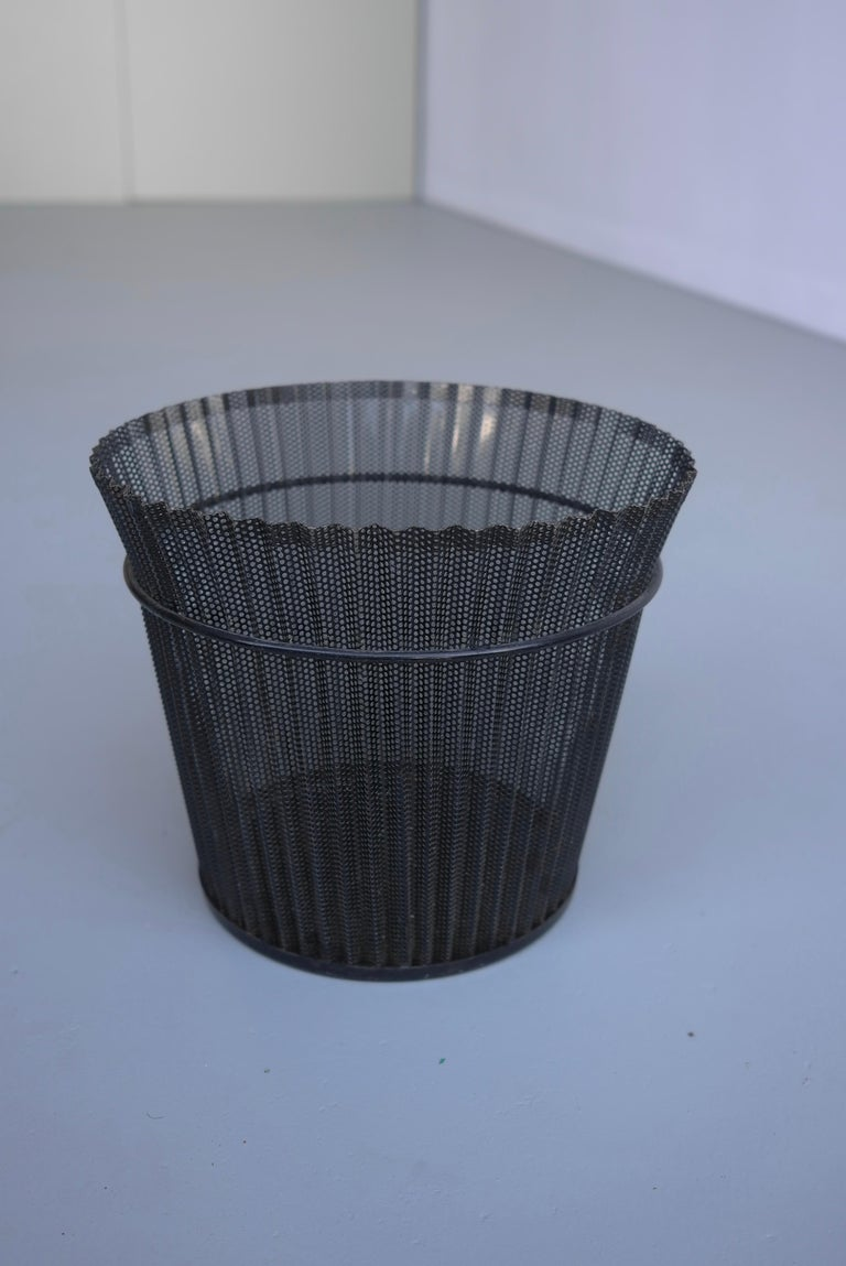 Large Mathieu Matégot Black Metal Waste Paper Basket, First Edition, 1950s For Sale 2