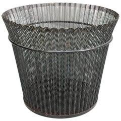 Large Mathieu Matégot Black Metal Waste Paper Basket, First Edition, 1950s